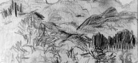 Tomás Bartolomé. Montes en Azcoitia. Lápiz, papel. 2015. La carbonilla negra de mis lapiceros que mancharon mis manos y luego tus poros de seda.